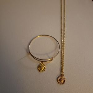 Gold color sunflower necklace and bangle